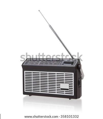 Portable radio isolated on a white background - stock photo