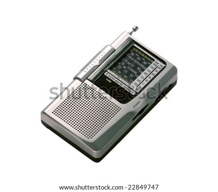 portable radio receiver with antenna isolated over white background - stock photo