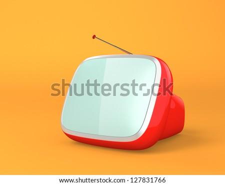 portable red stylish retro TV - stock photo