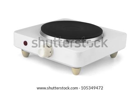 Portable single burner electric stove isolated on white - stock photo