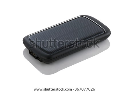 Portable solar charger for smart phone. Power bank isolated on white