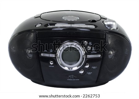 Portable stereo CD/radio cassette recorder; on white - stock photo