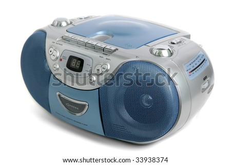 Portable tape recorder isolated on white. - stock photo