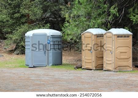 Portable toilets in Yosemite National Park, California, United States. - stock photo