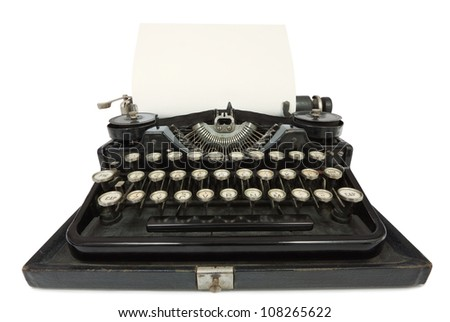 Portable Typewriter with sheet of paper isolated on white background. Wide Angle