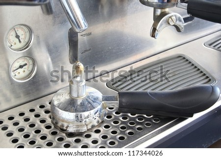 Portafilter on espresso machine - stock photo