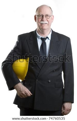 Portait of a happy senior architect - stock photo