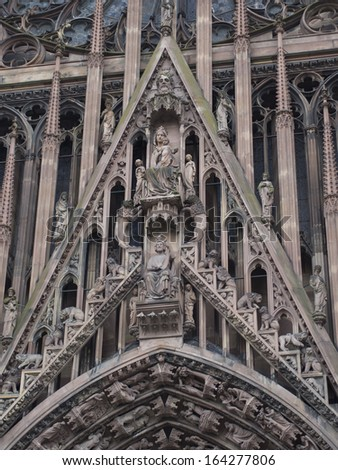 portal of the Cathedral of Our Lady of Strasbourg (Cathedrale Notre-Dam, circa 1439). Sculptures show Bible stories