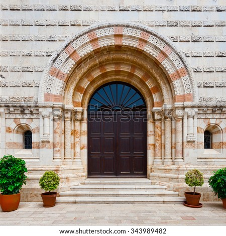 Portal of the Church of Dormition on Mount Zion in Jerusalem - stock photo