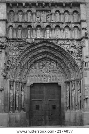 Portal of the famous church of St.Maria la Real, Sanguesa, Navarra, Spain