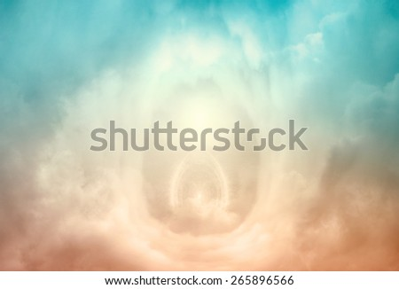 Portal to heaven, blue and golden clouds - stock photo