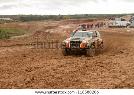 PORTALEGRE, PORTUGAL - NOVEMBER 3: Andre Amaral drives a Proto X3 in BAJA 500, integrated on FIA World Cup for Cross-Country Rallies, in Portalegre, Portugal on November 3, 2012. - stock photo