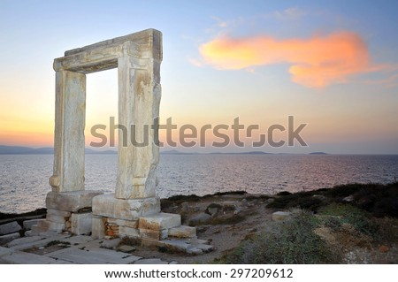 Portara of Naxos, famous landmark of Cyclades, Greece