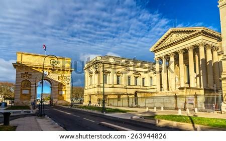 Porte du Peyrou and Palais de Justice in Montpellier - France - stock photo