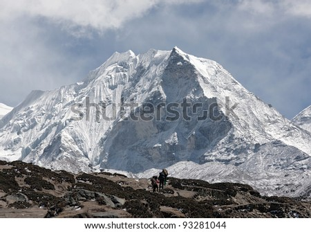 Porters near Island peak (6189 m) in district Mt. Everest - Nepal, Himalayas - stock photo