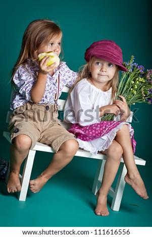 Portert two sisters - stock photo