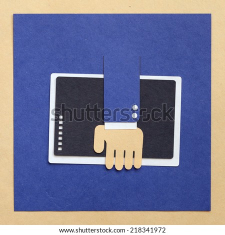 portfolio,- businessman hand holding tablet or folder - cut paper - stock photo
