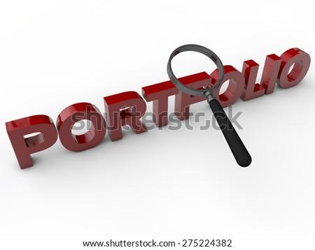 Portfolio - 3D Text over white background - stock photo