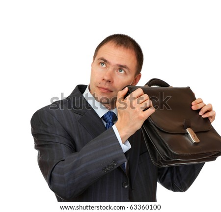 Portfolio investors in anticipation of profit. Businessman with a briefcase.