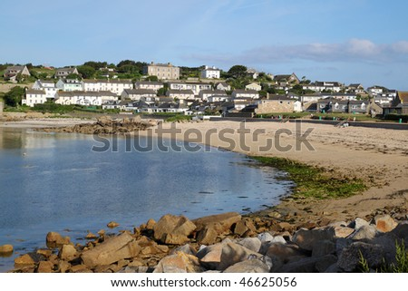 Porthcressa beach and Hugh Town, St. Mary's Isles of Scilly, Cornwall UK.