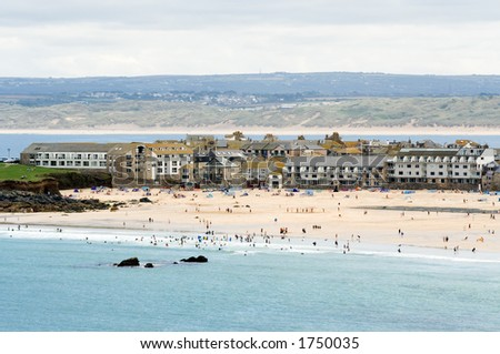 Porthmeor beach at St Ives, Cornwall - stock photo