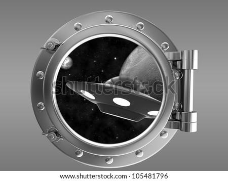 Porthole overlooking the UFO - stock photo