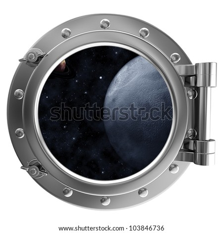 Porthole with a view of space - stock photo