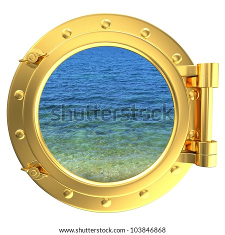 Porthole with a view of water
