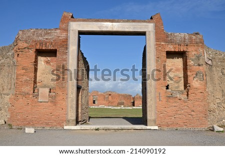 Portico and entrance to building of Eumachia, Pompeii, Italy - stock photo