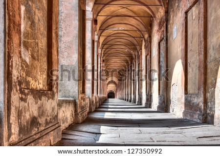 Portico di San Luca, Bologna, Italy: the porch that connects the Sanctuary of the Madonna di San Luca to the city, a long (3.5 km) monumental roofed arcade consisting of 666 arches - stock photo