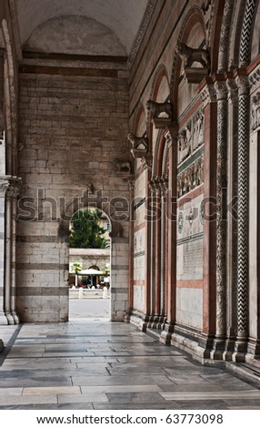 Portico of the Cathedral in Lucca, Tuscany, Italy