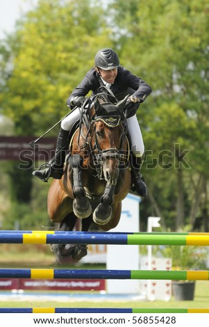 PORTIMAO, PORTUGAL - JUNE 13: Participant in action at  International Show Jumping CS4 Portimao , Portugal,June 13, 2010 in Portimao. - stock photo