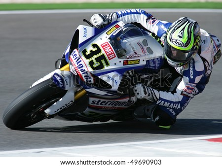 PORTIMAO, PORTUGAL - MARCH 27: Cal Crutchlow, 1st place Superpole 3 on Superbikes on March 27, 2010 in Algarve, Portimao, Portugal. - stock photo