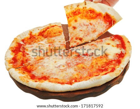 portion italian pizza Margherita on wooden board isolated on white background - stock photo