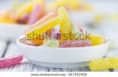 Portion of colorful Gummi Candy (close-up shot) with selective focus - stock photo