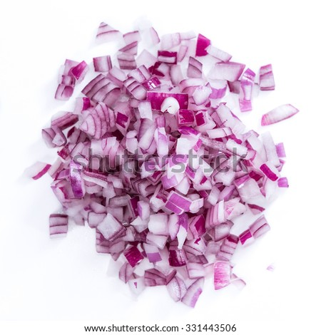 Portion of diced Red Onion (detailed close-up shot) isolated on white background - stock photo