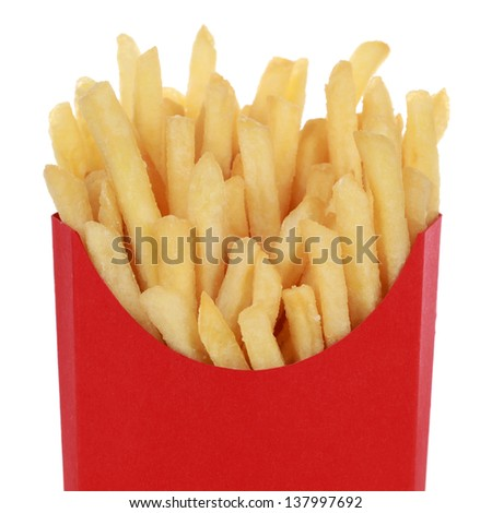 Portion of French fries in a box, isolated on white