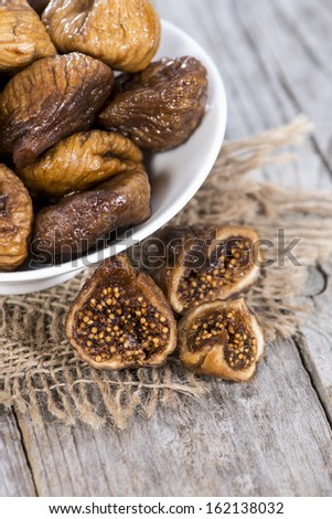 Portion of fresh dried Figs - stock photo