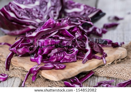 Portion of fresh made Red Coleslaw - stock photo