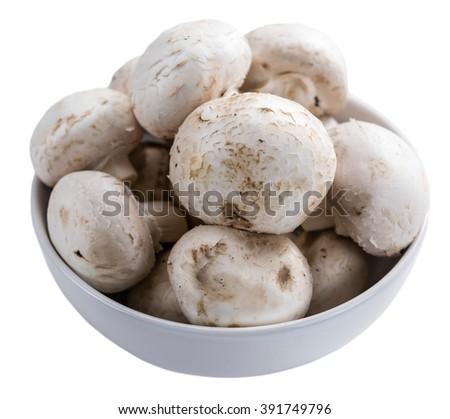 Portion of fresh Mushrooms isolated on white background - stock photo