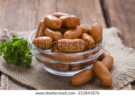 Portion of Mini Sausages (detailed close-up shot) - stock photo