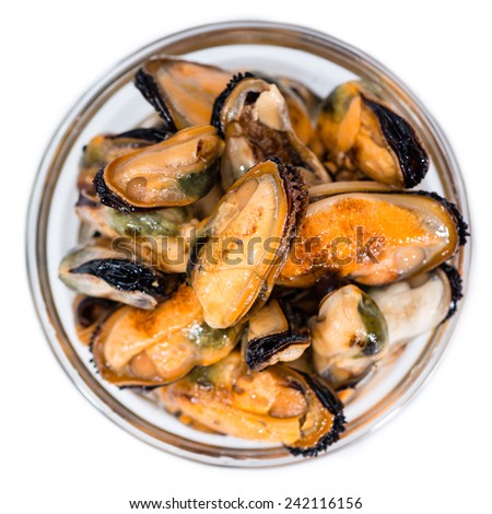 Portion of pickled Mussels in a bowl isolated on white background - stock photo