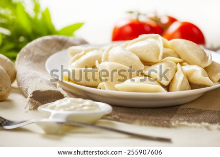 Portion of ravioli on a white plate. Green salad, fork and tomatoes. - stock photo