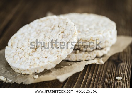Portion of Rice Cakes (close-up shot) on wooden background