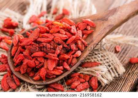 Portion of ried Goji Berries (also known as Wolfberry) - stock photo