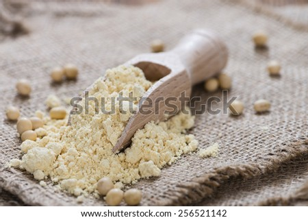 Portion of Soy Flour (detailed close-up shot) - stock photo