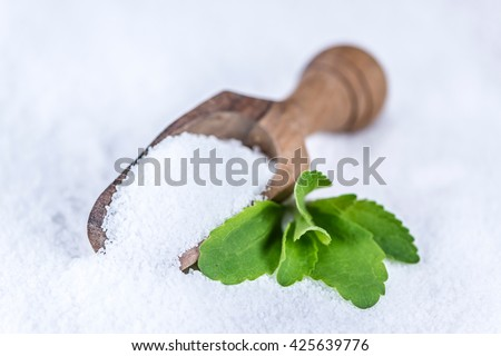 Portion of Stevia granular (selective focus; detailed close-up shot) - stock photo