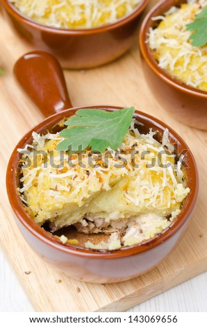 portioned form with baked chicken with mashed cauliflower and cheese, vertical top view - stock photo
