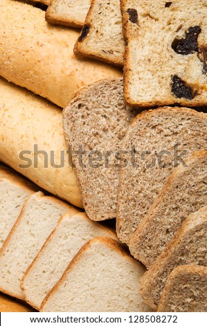 Portions of different fresh bread