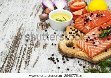 portions of fresh salmon fillet  - stock photo